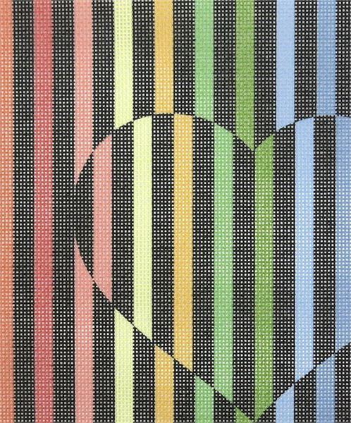 Heart Illusion Needlepoint Kit or Canvas Valentine