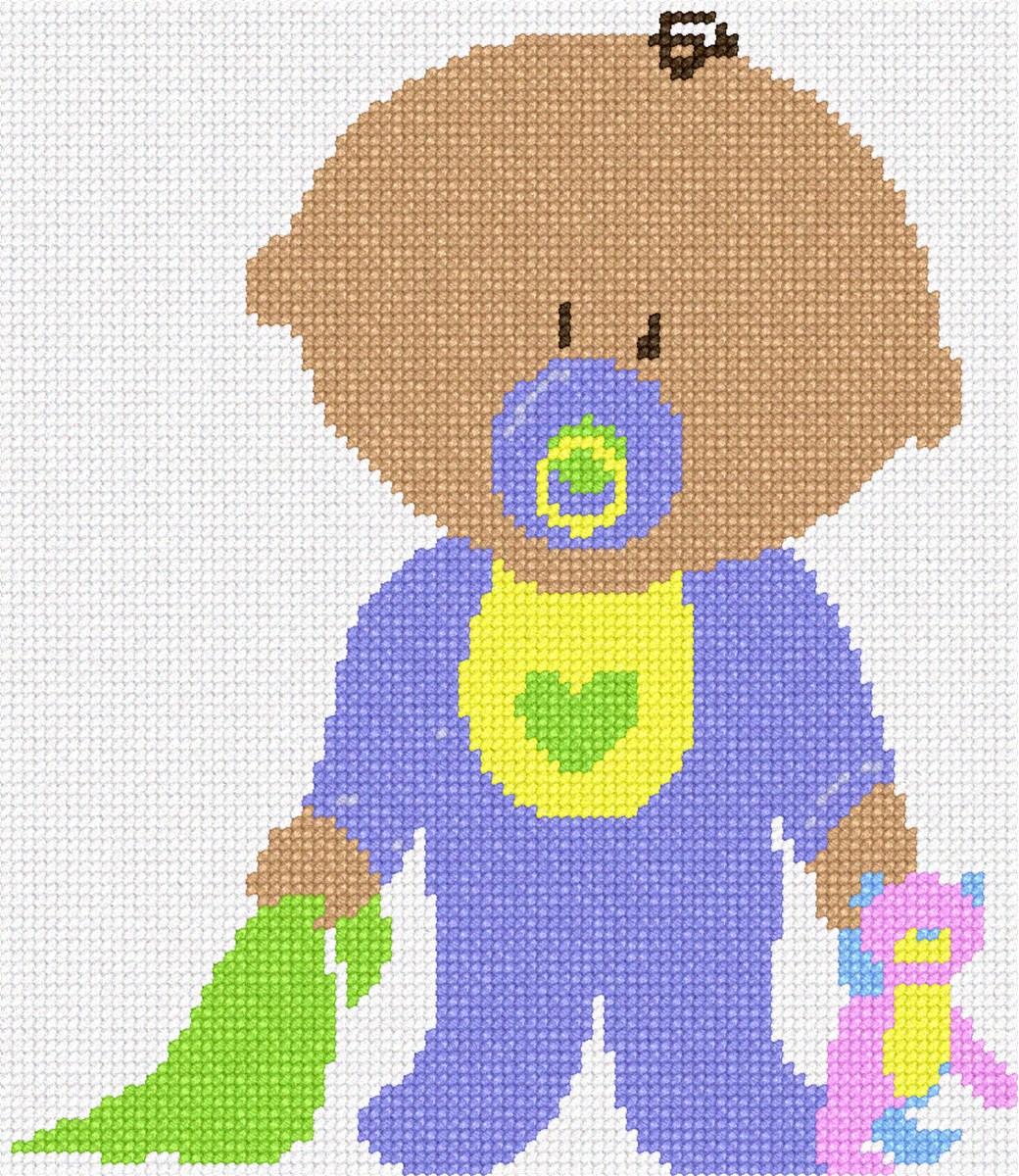 For Baby//Nursery//Kids Grey Chevron Baby Boy Crib Needlepoint Kit or Canvas