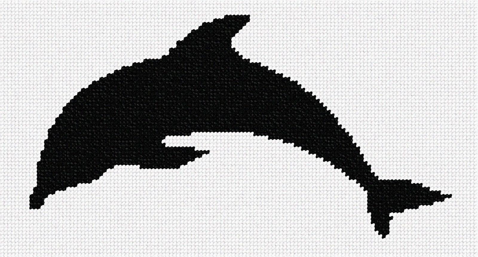 Dolphin Shape Needlepoint Canvas Fish//Ocean//Animal