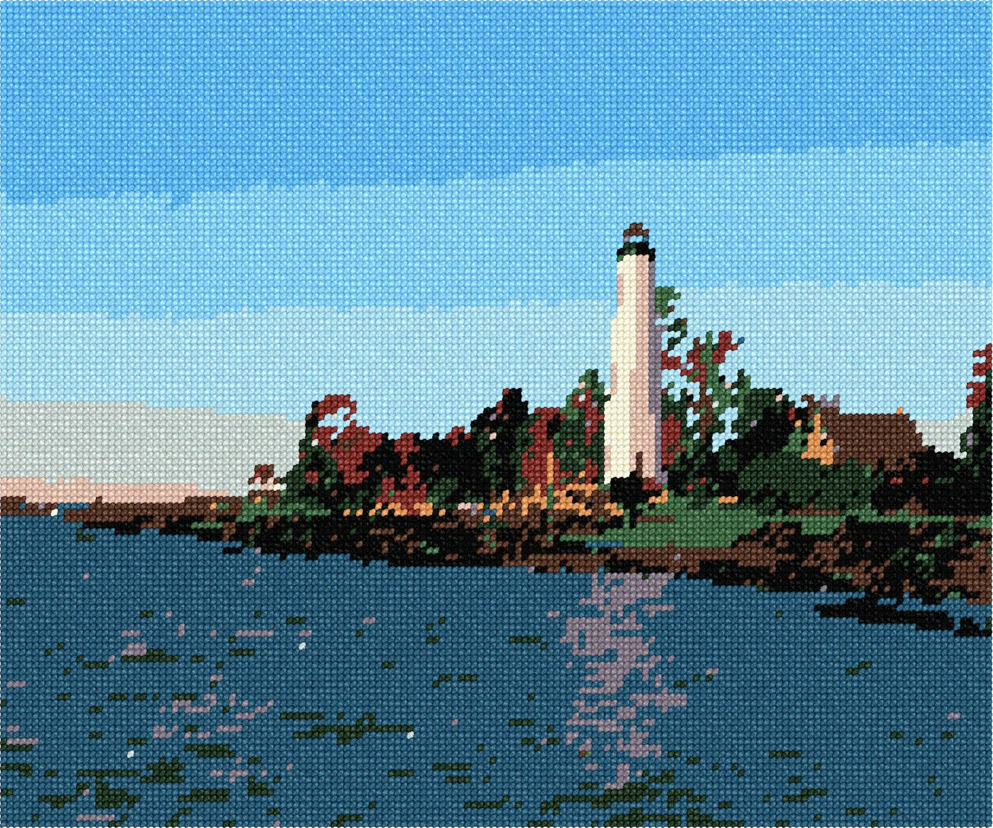 Lighthouse On The Sea Needlepoint Kit or Canvas Nautical//Ocean