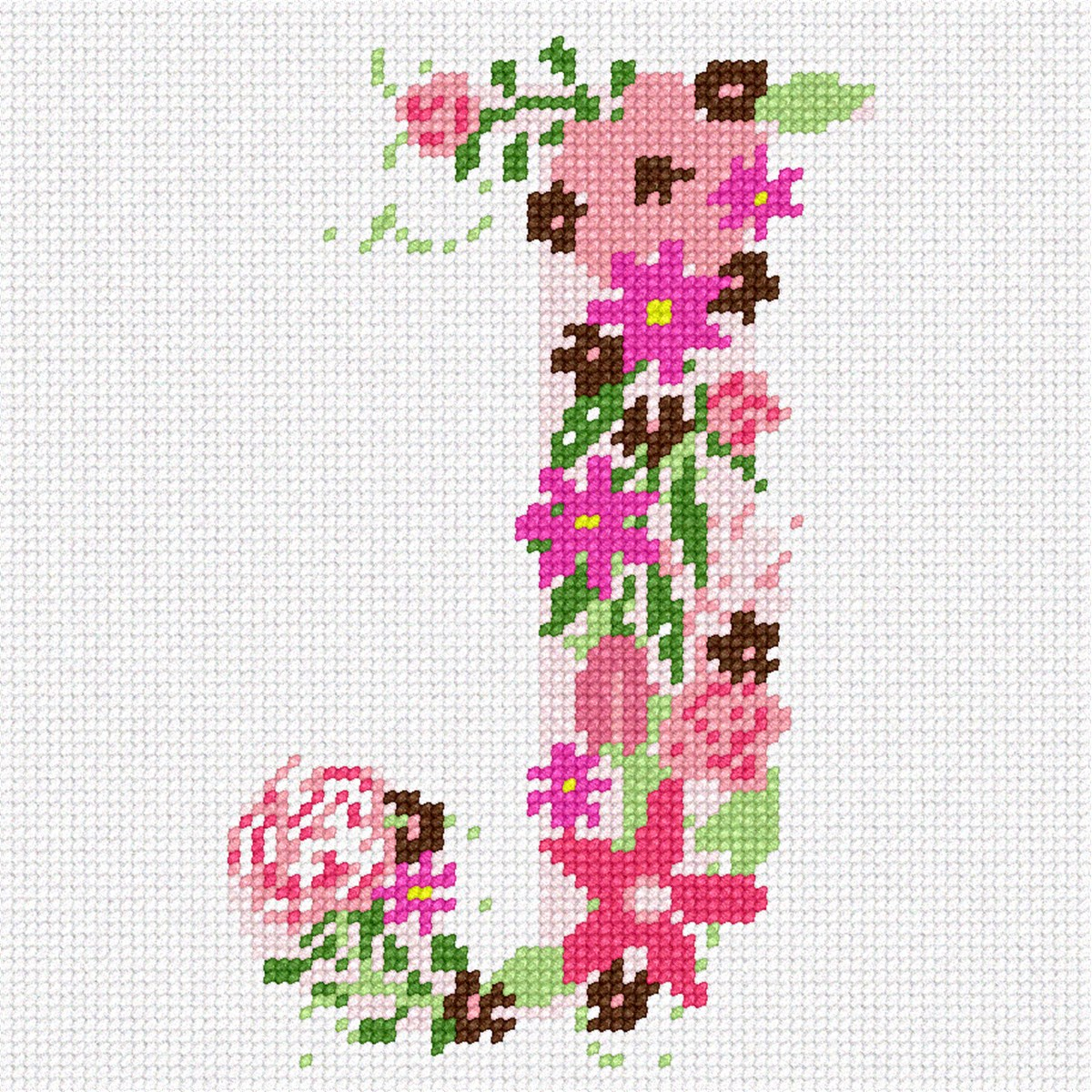 The Letter J Flowering Needlepoint Kit or Canvas (Alphabet/Letters ...